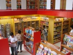 View of the book store from the mezzanine looking down