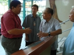 Left to right: Pres. Malayang, Interactive Screen programamer Prof. Bob Macalolot. Ed Agnir. VP for Administation Cleoni