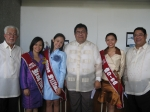Founders Day 2006 beauty contest winners pose with Trustee Antonio Villamor, President Malayang and Judge Candelario Gon